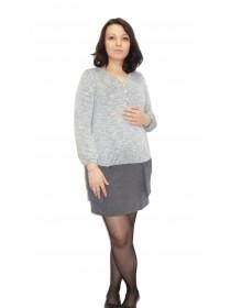 Платье серое для беременных и кормящих NewForm