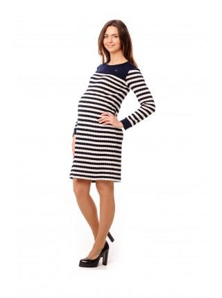 Платье синее в белую полоску для беременных