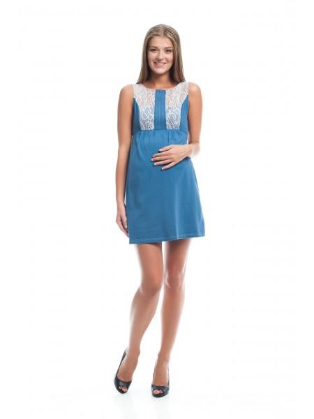 Платье голубое с кружевом для беременных