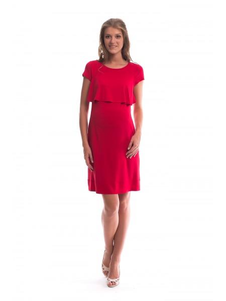 Платье красное с коротким рукавом для беременных и кормящих