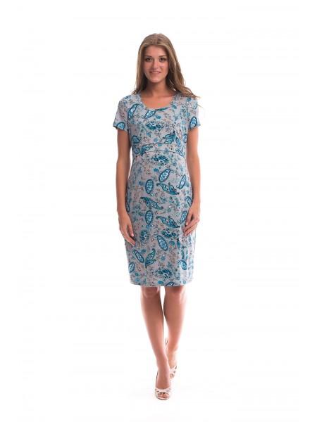 Платье серое с рисунком для беременных и кормящих