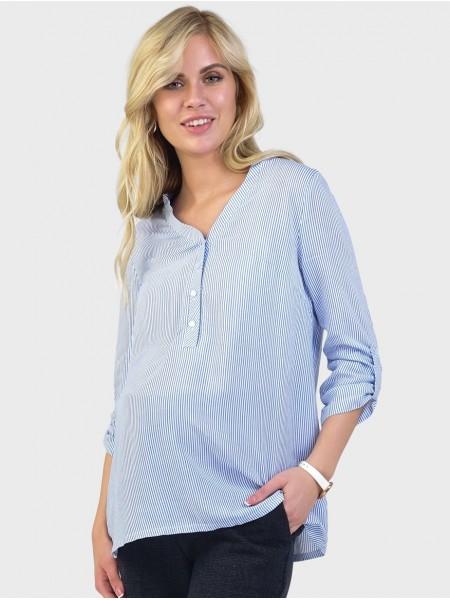 Рубашка белая в полоску для беременных и кормящих