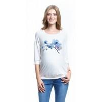 Блузка белая с рисунком для беременных