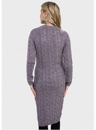 Платье серое вязаное для беременных и кормящих