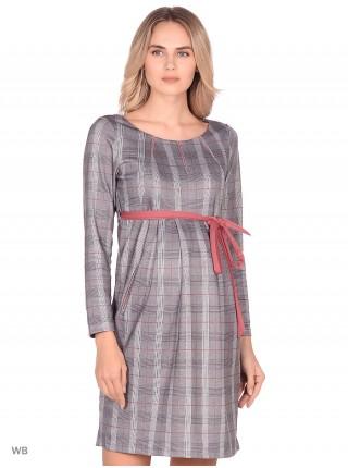 Платье серое в розовую клетку для беременных