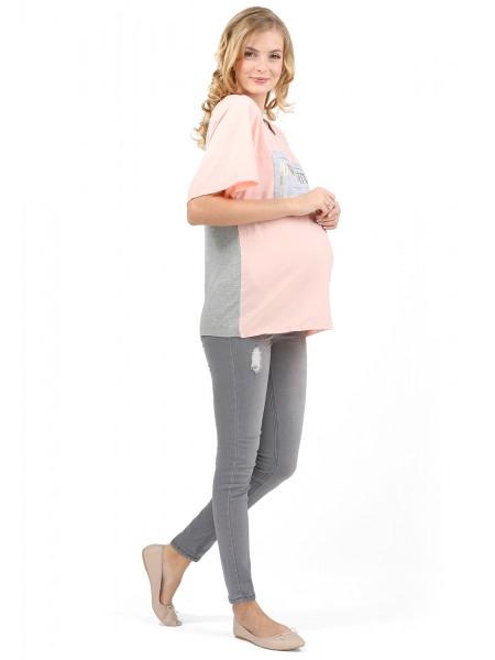 Блузка розовая с серым для беременных