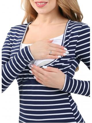 Лонгслив синий/белый для беременных