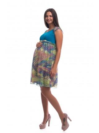 Платье комбинированное с коротким рукавом для беременных