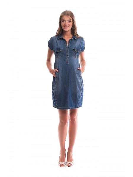 Платье джинсовое с коротким рукавом для беременных и кормящих