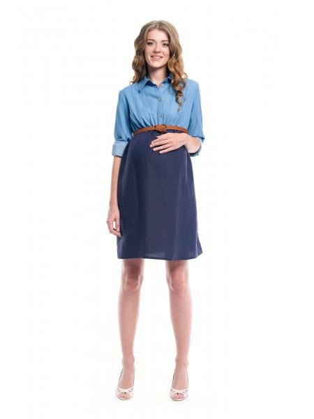 Платье комбинированное синее для беременных и кормящих
