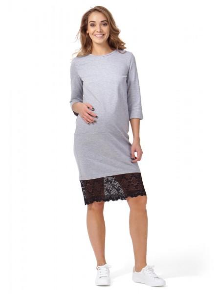 Платье серый меланж для беременных