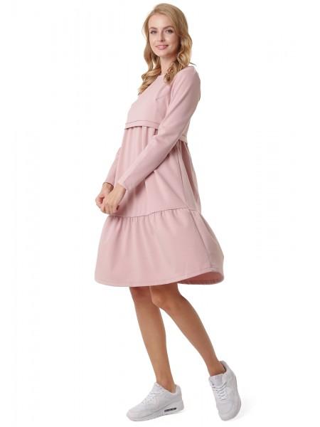 Платье розовое для беременных и кормящих