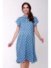 Платье голубое в белый горох для беременных и кормящих