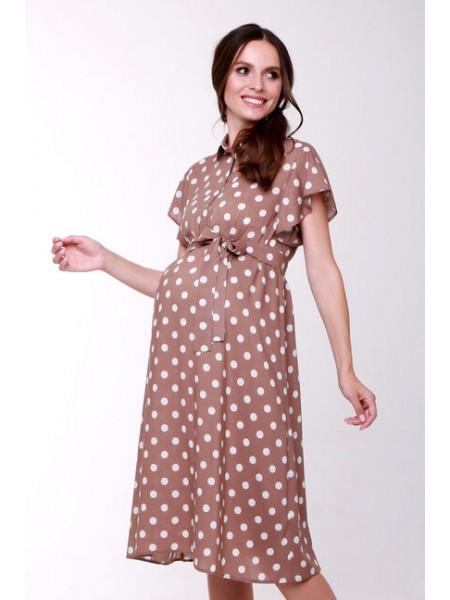 Платье коричневое в белый горох для беременных и кормящих