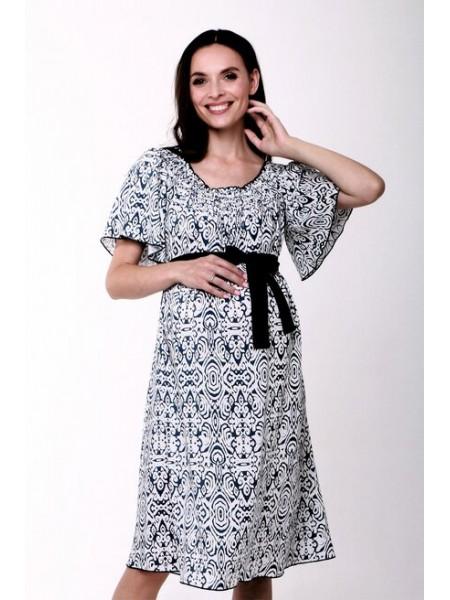Платье белое с синим поясом  для беременных