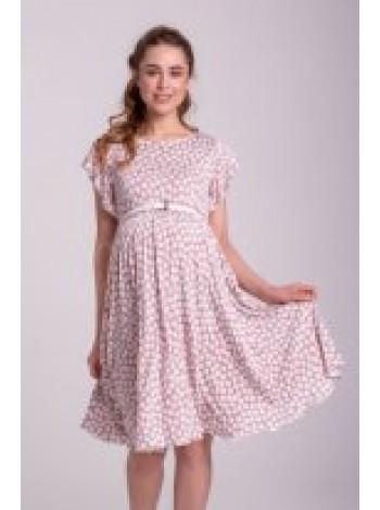 Платье розовое в белый горох для беременных