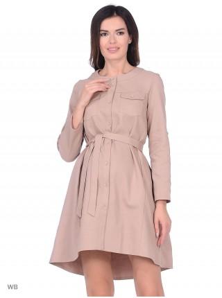 Платье бежевое для беременных и кормящих