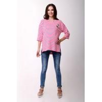 Блузка белая в розовую полоску для беременных и кормящих