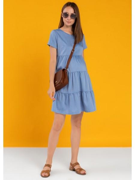Платье синее с коротким рукавом для беременных и кормящих