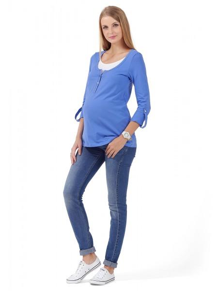 Лонгслив синий для беременных и кормящих
