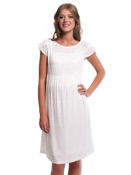 Платье белое для беременных с коротким рукавом