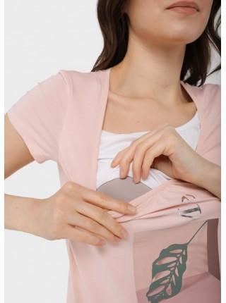 Футболка розовая для беременных и кормящих