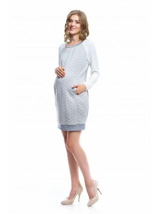 Платье серое с белыми рукавами  для беременных