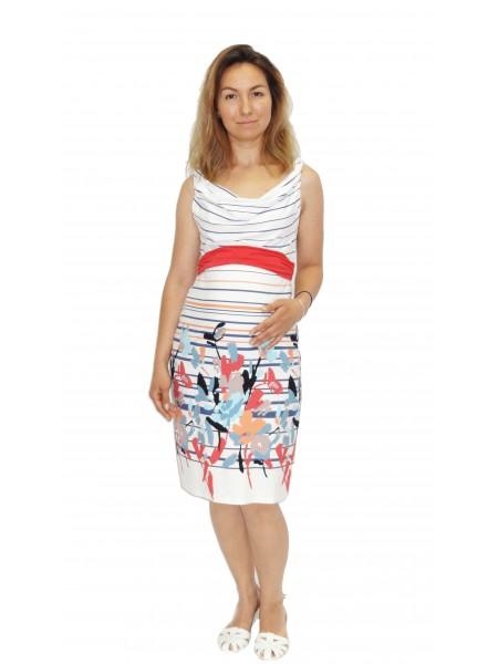 Платье  белое с цветным принтом для беременных