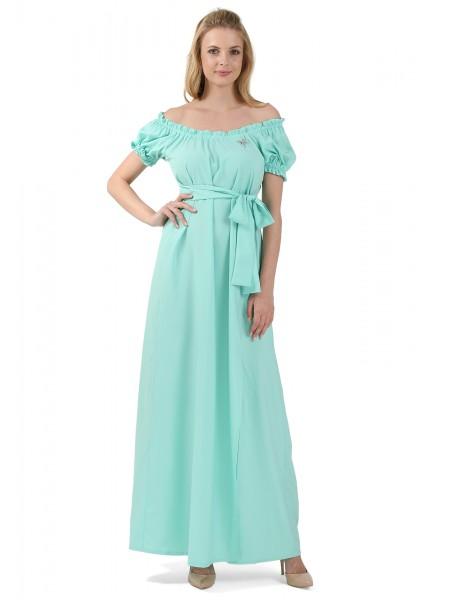 Платье длинное ментоловое для беременных