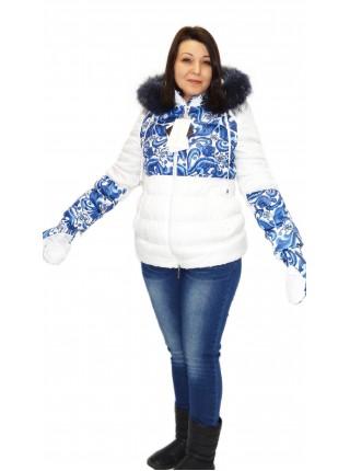 Куртка зимняя белая с рисунком  для беременных